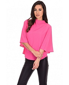 Women's Cerise Fla Sleeve Top