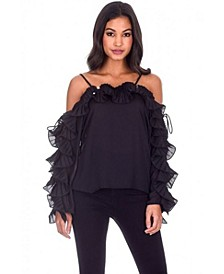 Women's Frill Detail Off The Shoulder Top