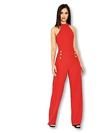 Women's Halterneck Jumpsuit With Military-Inspired Buttons