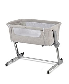 Grey Hugme Plus Bedside Sleeper Bassinet Includes Mattress and Travel Bag