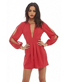 Women's V Neck Split Sleeve Romper
