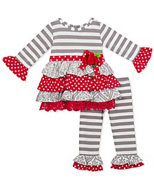 Baby Girls 2-Pc. Mixed-Print Ruffle Tunic & Leggings Set