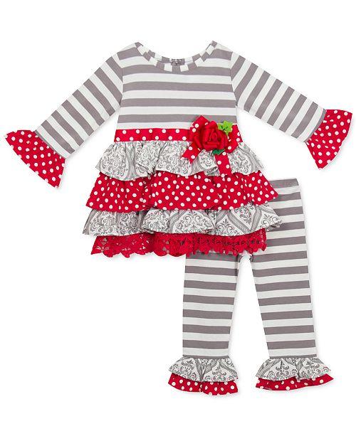 Rare Editions Baby Girls 2-Pc. Mixed-Print Ruffle Tunic & Leggings Set
