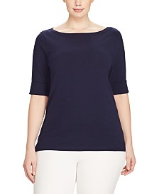 Lauren Ralph Lauren Plus Size Stretch Cotton Boatneck Top
