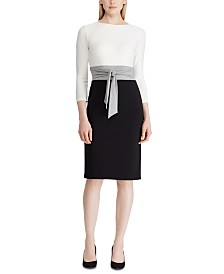 Lauren Ralph Lauren Color-Blocked Tie-Front Dress