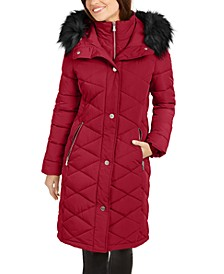 Diamond-Quilt Faux-Fur Trim Hooded Puffer Coat