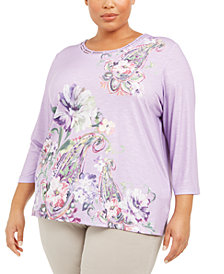 Alfred Dunner Plus Size Loire Valley Printed Lattice-Neck Top