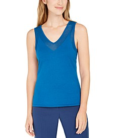 Sheer-Trim Sleeveless Top