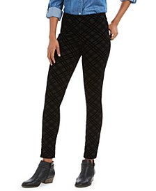 Plaid Flocked Ponté-Knit Leggings, Created For Macy's