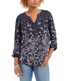 Button-Down Botanical Print Peasant Top, Created For Macy's