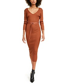 Crave Fame Juniors' Belted Sweater Dress