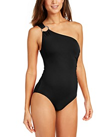 Embellished One-Shoulder Underwire One-Piece Swimsuit