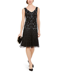 J Kara Beaded Drop-Waist Flapper Dress