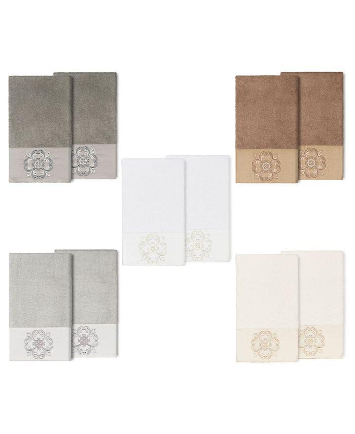 Linum Home - 100% Turkish Cotton Alyssa 2-Pc. Embellished Bath Towel Set