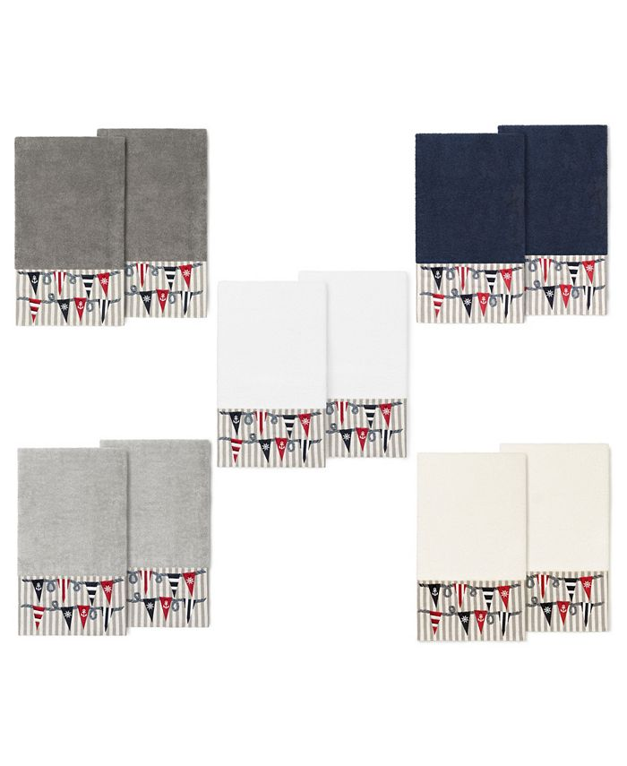 Linum Home - 100% Turkish Cotton Ethan 2-Pc. Embellished Bath Towel Set