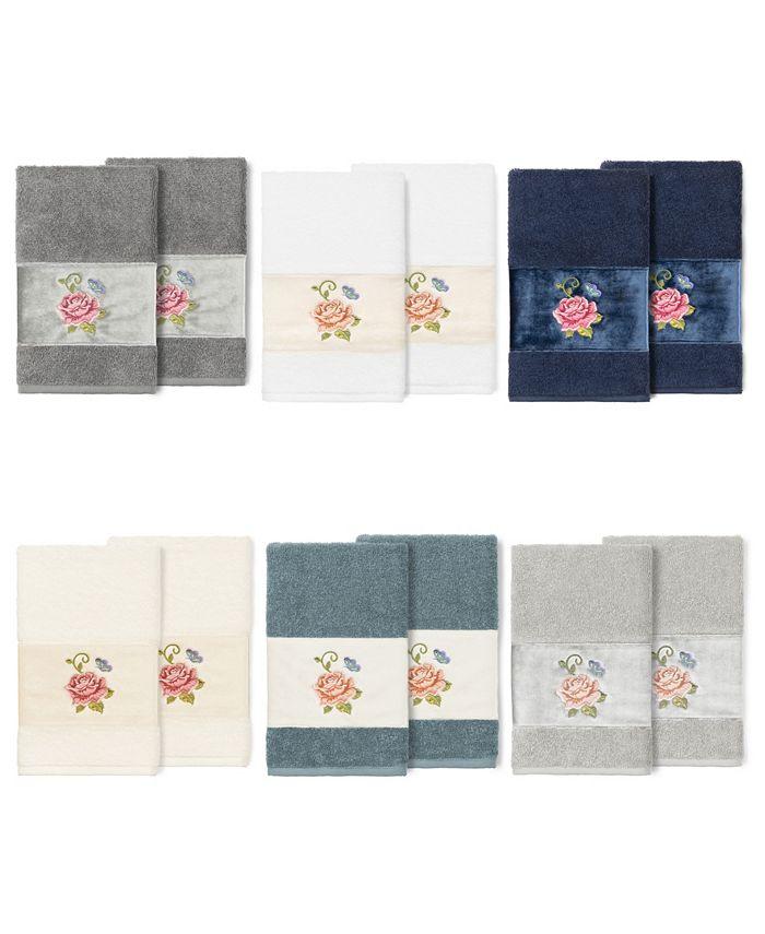 Linum Home - 100% Turkish Cotton Rebecca 2-Pc. Embellished Hand Towel Set