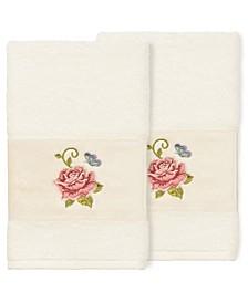 100% Turkish Cotton Rebecca 2-Pc. Embellished Hand Towel Set