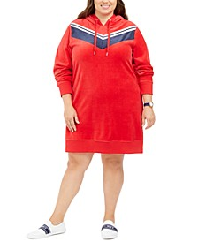 Plus Size Velour Chevron Hoodie Dress