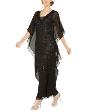 Art Deco Dresses | Art Deco Fashion, Clothing J Kara Sequined Chiffon Butterfly Gown $252.99 AT vintagedancer.com