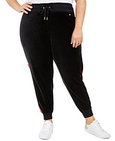 Plus Size Velour Varsity-Panel Jogger Pants