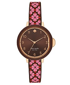 Kate Spade New York Women's Park Row Pink & Black Spade Flower Silicone Strap Watch 34mm