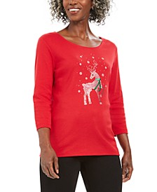 Sequin Reindeer Print T-Shirt, Created For Macy's