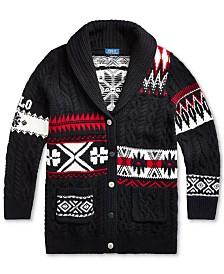 Polo Ralph Lauren Big Girls Geometric Wool-Blend Cardigan, Created For Macy's