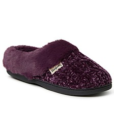Dearfoams Women's Cable Knit Chenille Slipper Clog, Online Only
