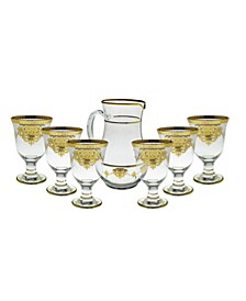 7 Piece Drinkware Set with Gold-tone Artwork
