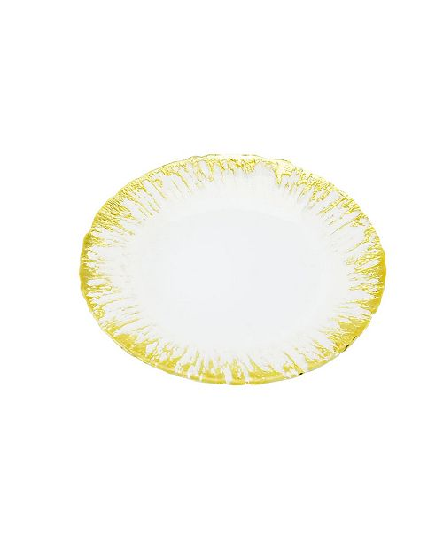 Classic Touch Set of 4 Milky Glass Plates with Flashy Gold-tone Design