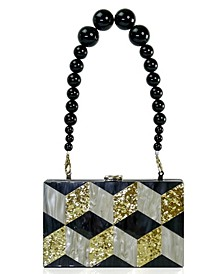 Beaded Top Handle Grid Acrylic Box Clutch
