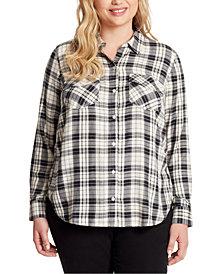 Jessica Simpson Trendy Plus Size Petunia Plaid Shirt