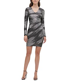 Foil-Knit Sheath Dress