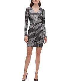 Foil-Knit Sheath Dress
