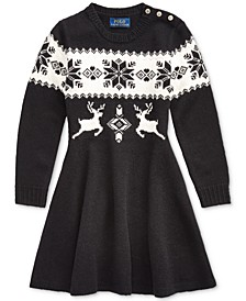 Little Girls Intarsia-Knit Sweater Dress