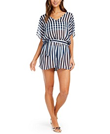 Striped V-Neck Romper Swim Cover-Up