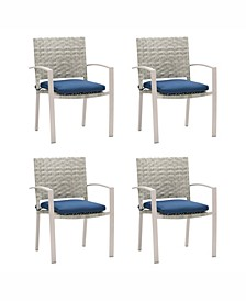 Distribution Parkview Wide Rattan Wicker Patio Dining Chairs, Set of 4