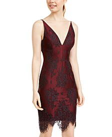 Blondie Nights Juniors' Lace Plunge Dress