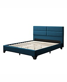 Bellevue Wide-Rectangle Panel Upholstered Bed and Frame, Queen