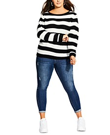 Trendy Plus Size Striped Sweater