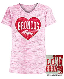 Big Girls Denver Broncos Heart Flip Sequin T-Shirt