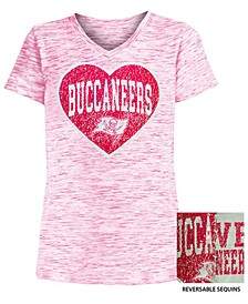 Big Girls Tampa Bay Buccaneers Heart Flip Sequin T-Shirt