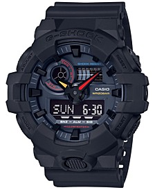 Men's Analog-Digital Black Resin Strap Watch 53.4mm