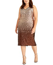 Trendy Plus Size Sequin Ombre Midi Dress