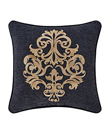 "J Queen Luciana 18"" Square Embellished Decorative Throw Pillow"