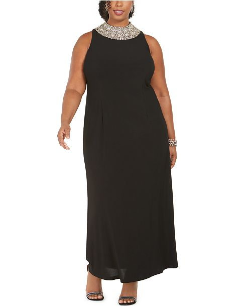 SL Fashions Plus Size Embellished Mock-Neck Gown