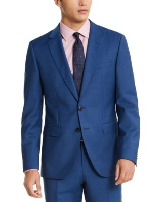 HUGO Hugo Boss Men's Slim-Fit Medium Blue Sharkskin Suit Jacket