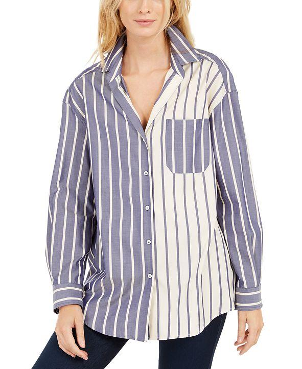 Weekend Max Mara Cotton Colorbocked Striped Boyfriend Shirt
