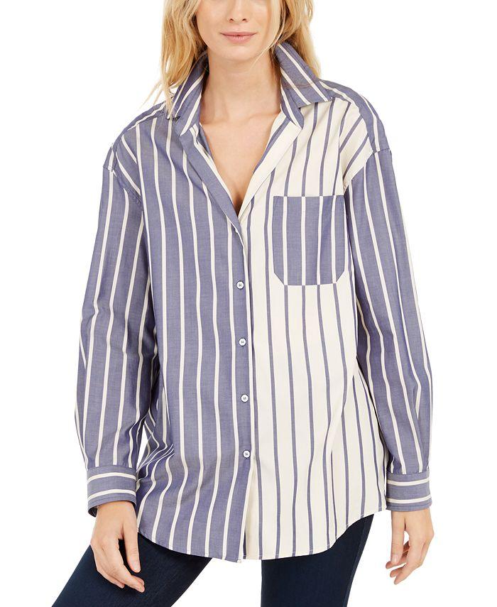 Weekend Max Mara - Cotton Colorbocked Striped Boyfriend Shirt
