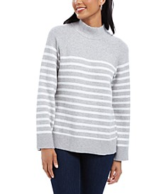 Petite Split-Back Striped Mockneck Sweater, Created for Macy's